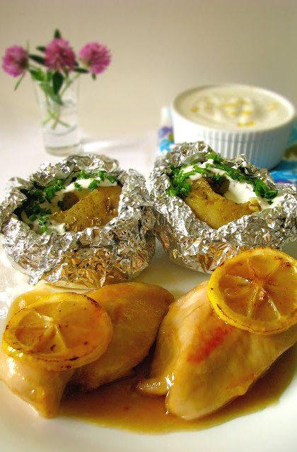 Kurczak w Sosie Cytrynowo – Miodowym z Pieczonymi Ziemniakami