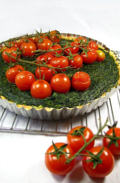 Tarta ze Szpinakiem, Ricottą i Pomidorkami