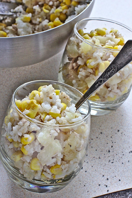 Sałatka Hawajska z Ryżem, Tuńczykiem, Ananasem i Kukurydzą-3