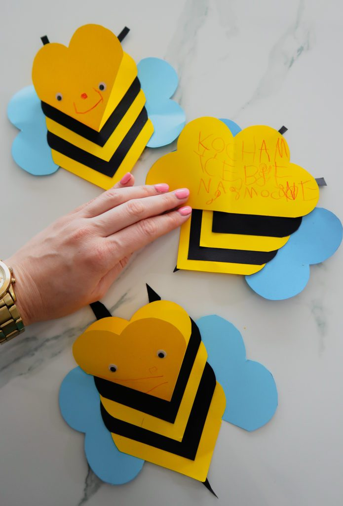 Pszczółki z Serduszek na Walentynki – Kartka Walentynkowa